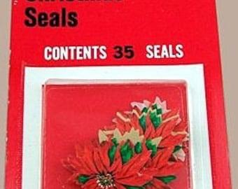 Vintage ORIGINAL Packet of Dennison Gummed Poinsettia Stickers (Seals)