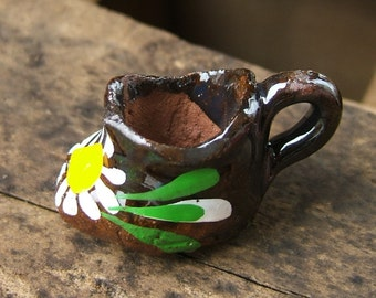 Little Ceramic Cup Charm - Red Clay and Hand Painted - in a Shoe Shape
