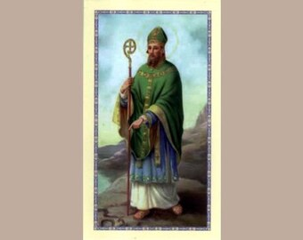 Saint Patrick Holy Cards with  Irish Blessing on Back - Package of 5 Cards