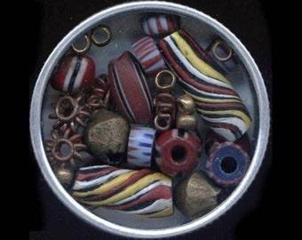 Limited Edition Tin of 25 Authentic Vintage & New African Trade Beads - SilverCrow Exclusive