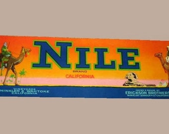 Large Vintage Nile Brand Grapes Label (New Old Stock - Unused ) - Low Price - Package of 10