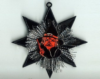 Vintage Scrap Witch and Tinsel Ornament on Black Dresden Star - On Sale - Was 10.25