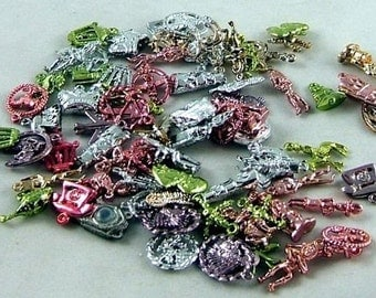 Vintage Metallic Gumball Charms - Package of 10 Assorted