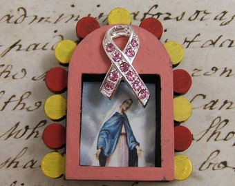 Unfinished Tiny Shrine Commemorating Breast Cancer Survivors Featuring Our Lady of Grace - Blessed Mother - Made by SilverCrow Creations
