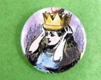Alice and Her Crown Pin Back Button