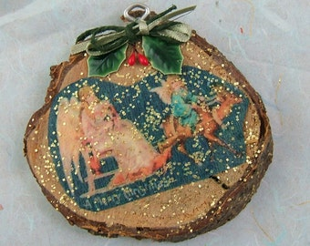Sample Wood Ornament with Victorian Scrap Reproduction - REDUCED - SALE - Was 3.50 - Now 1.50 - More than Half Off