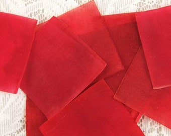 Vintage Red Wood Pulp Squares - Package of 100 Pieces