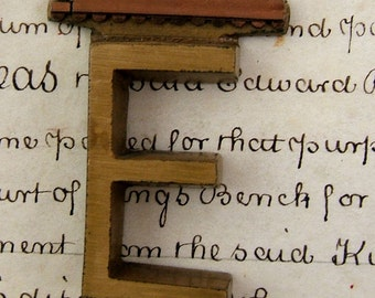 Vintage BRONZE Letter - E - Vintage - Great for Altered Art (E2)