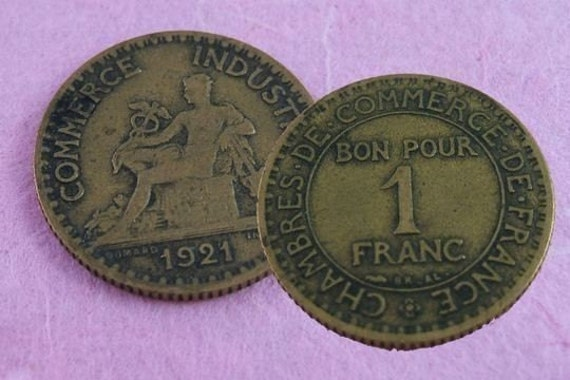 A franc (or two) for your thoughts... - Set of 2 Vintage French Francs