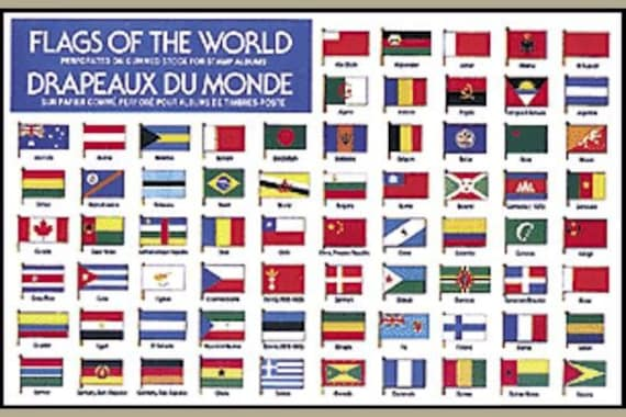 190 Gummed Stickers Flags Of The World