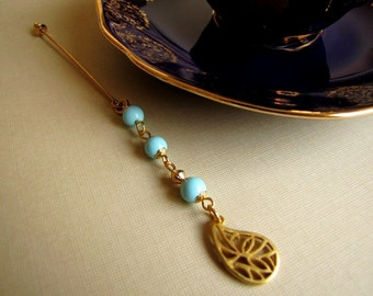 Turquoise Blue Gold Plated Dangle Hijab Pin