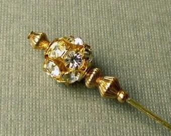 Gold Plated Rhinestone Hatpin Hijab Pin
