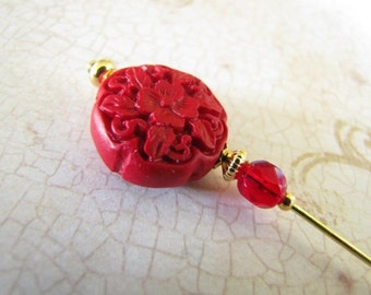 Red Carved Cinnabar Flower Hijab Pin Hatpin