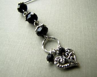 Black Silver Plated Dangle Hijab Pin