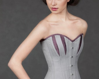Silver and blackberry broche longline corset - CLEARANCE