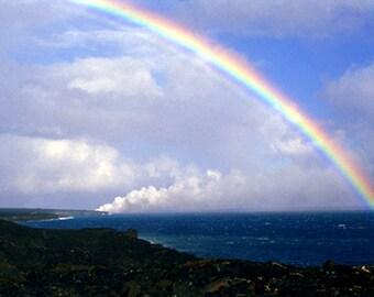 Fine Art Photography Kilauea Volcano Photography Hawaii - Landscape Photograph - Nature Photography - Hawaii Island Rainbow Over Lava - Gift