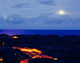 SALE - Lava Moon Volcano Photography Fine Art Kilauea Volcano Big Island Hawaii Nature Photography Night Landscape Photo - Gift for Him