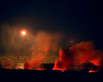Hawaiian Volcano Photography - Night Fine Art Photography Peles Moonlit Dance - Kilauea Volcano Lava Flow - Full Moon Landscape Photography
