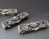 Qty 3 sterling silver spacer beads bali india tribal style