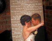 Cotton Anniversary Gift Photos Words Text on Photograph Custom Art Canvas Wedding 18X24 inch