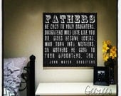 Father's be good to your daughters black or brown color choice wall decor canvas art 15x15