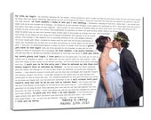 Your Photo Words Wedding Art Canvas Gallery Wrap , Engagement  Anniversary Just Married Photo 36X48