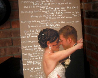 Cotton Anniversary Gift Photos Words Text on Photograph Custom Art Canvas Wedding 18X24 inch