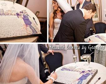 Modern Photo Ketubah Ketubot Canvas Jewish Art Wedding Photo and Wording Geezees  Custom Canvas Artwork