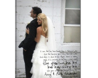 Personalized Gift Romantic Photos and words on Canvas Keepsake Favorite Photo and Words, Vows,12x16