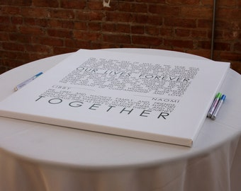 Mr and Mrs. Wedding Sign Reception Guest Book Signature Art Canvas decor  CUSTOM wall decor 40x40