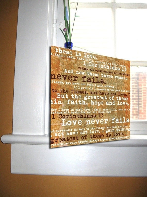 Corinthians Scripture Love Is Patient Wall Art Canvas Distressed Typography 10x10 Pick from 5 colors
