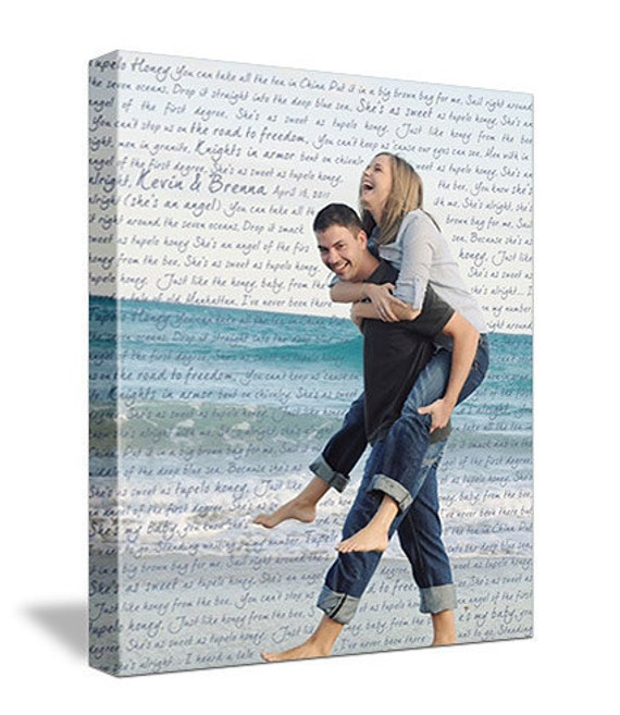 Wedding  or Holiday Gift First Dance Lyrics/ Custom Canvas / Your Wedding Photo with your Lyrics/ Vows/ Love Story Gezees Canvas Art