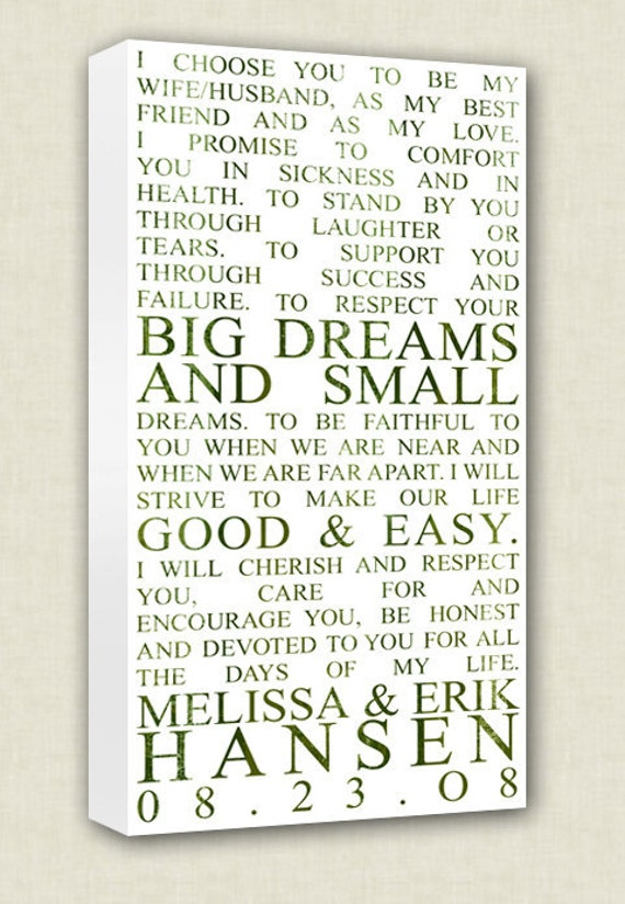 Sayings Wall Art Canvas : Wedding vows art canvas wall quotes by geezeescustomcanvas