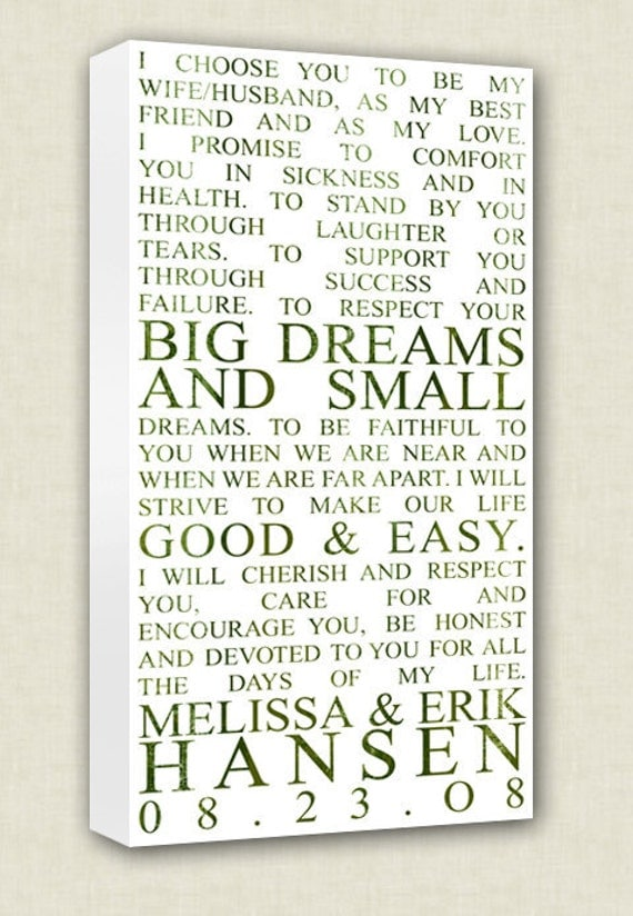 Wedding Vows Art Canvas Wall Quotes Art Keepsake Words, Vows,12x24 Part 48