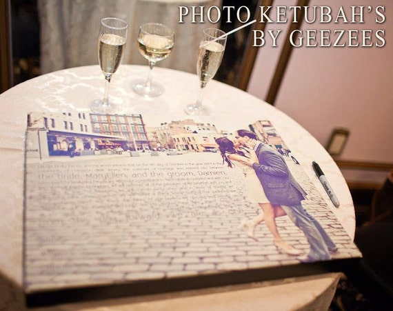 Geezees  Ketubah photo Ketubot modern Canvas Jewish Art Modern Wedding Photo and Wording  18x24