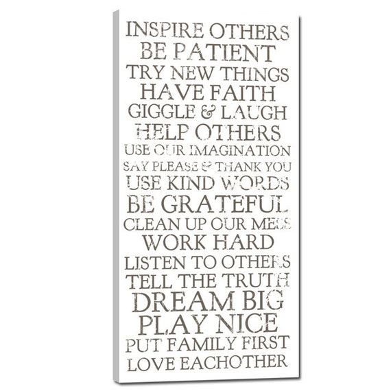 Stock art House Rules on Canvas, Inspire Others, Dream Big, Love Eachother , Have Faith 10x20 inch , choose from 5 color styles