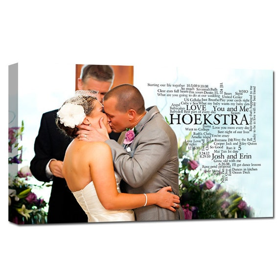 Personalized Anniversary Canvas Memories Art, Vows, Lyrics  UNIQUE Photo Gift 18X24