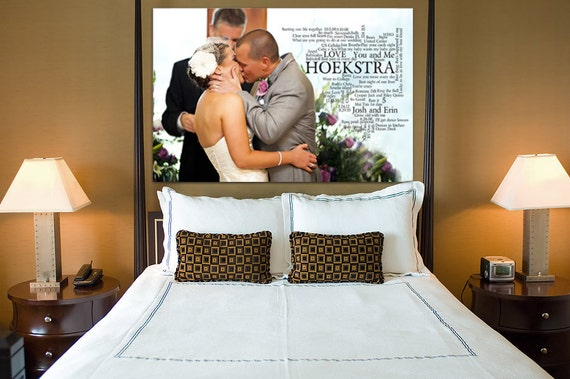 Reserved for Jennifer w four photo edits Gift Your Photo Words Wedding Art Engagement  Anniversary Just Married Photo 20X30