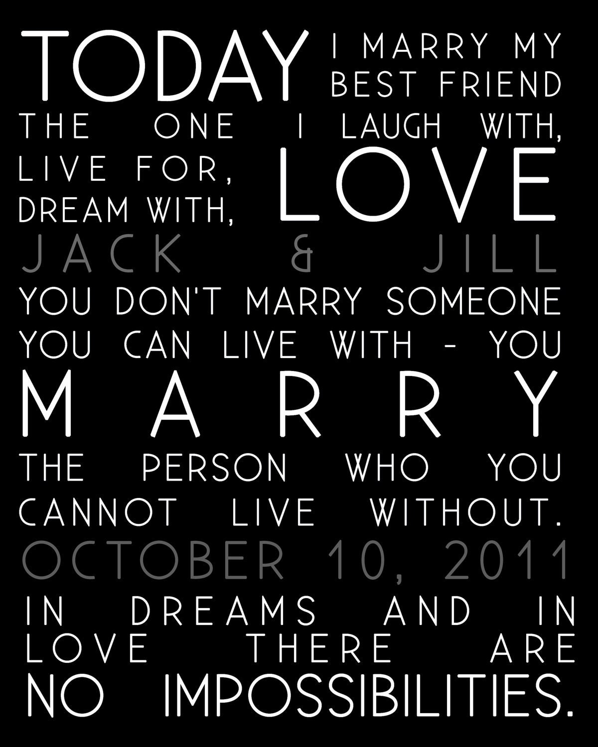 Best Friend Quotes For Couples : Today i marry quotes wedding print and names of couple gift