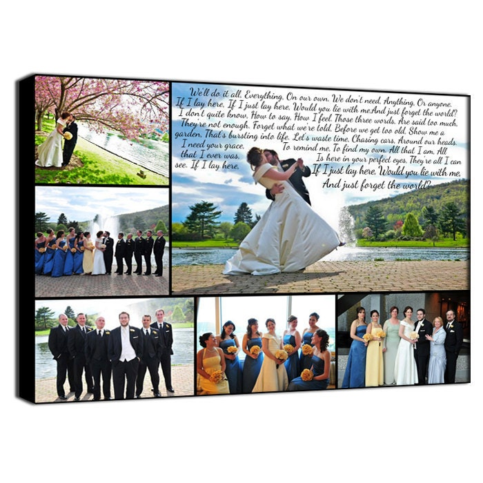Personalized Wedding Canvas: Personalized Pictures Gift Photo Collage Wedding Canvas Words