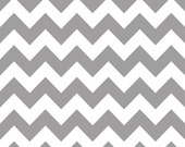 Riley Blake Designs, Medium Chevron in Gray (C320 40) - 32 inches - (remnant)