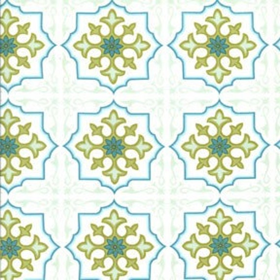 Sanctuary by Patty Young - Temple Tiles in Seafoam - 1 yard