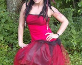 Red and black tattered rag doll dress with tulle and fishnet M - L