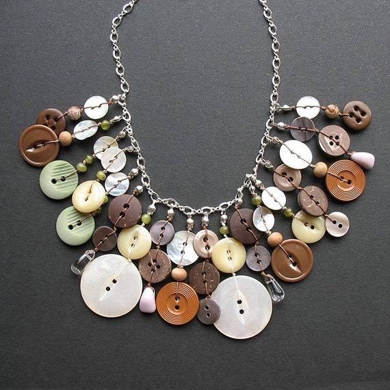 on the fringe - button necklace with sterling silver chain