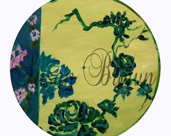 vinyl yellow with green chinoiserie