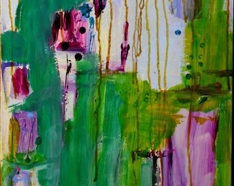 Abstract painting on wood, jade, purple, green, aqua