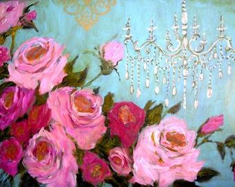 Shabby Chic Chandelier ~ Shabby Chic Decor ~ Roses Wall Art Print ~  Vintage French Decor ~ Romantic Decor  ~ Roses Print ~