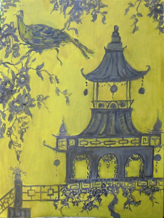 Neo Asian Toile Art Yellow and Grey Chinoiserie by femmehesse