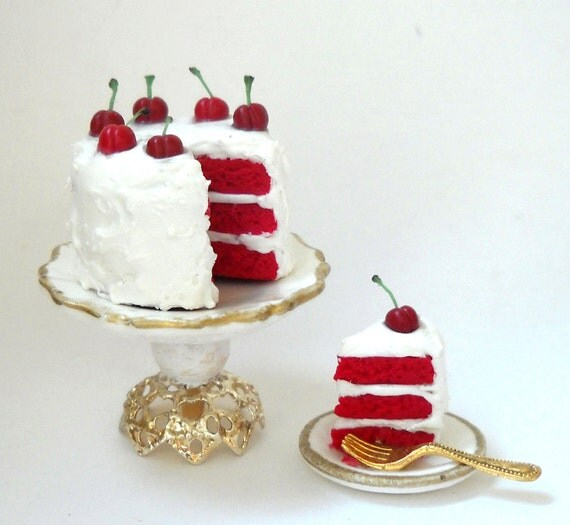 1/12TH scale - cherry red velvet cake with a slice by lory