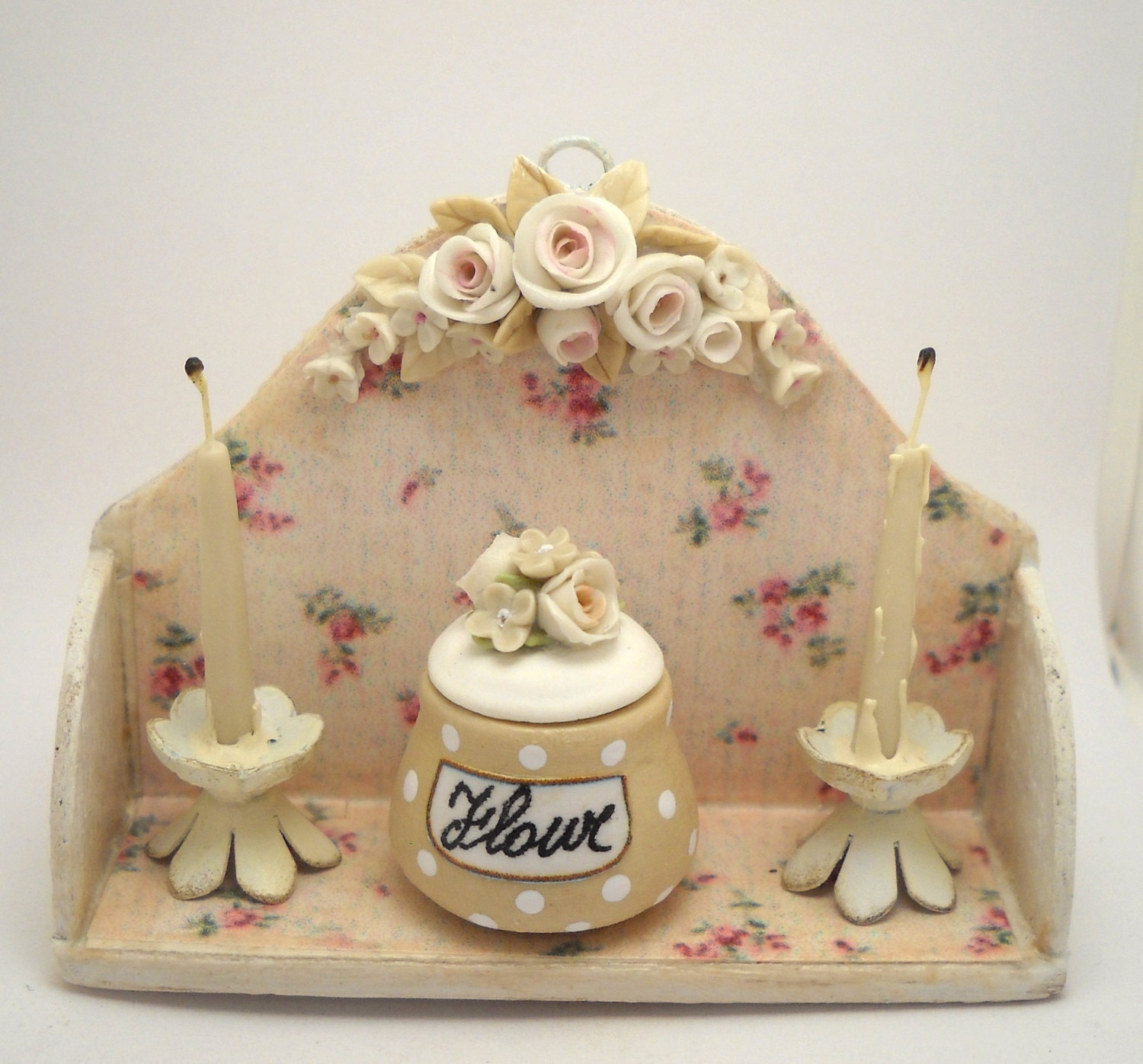 12TH scale shabby chic romantic cream roses kitchen by 64tnt
